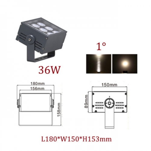 36W AC100-240V CREE LED Floodlight Narrow Beam Spot Outdoor Luminaires 1 Degree IP65