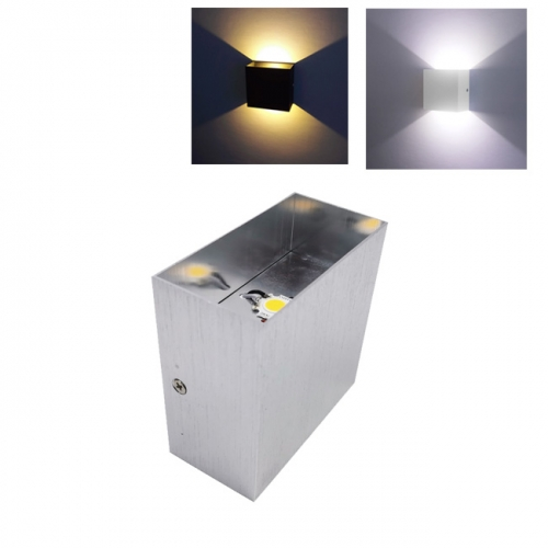 6W AC110V-240V COB LED Indoor Up and Down Wall Light Silver IP20