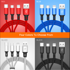 USB Cable For iPhone XS X 8 7 6 Charging Charger 3 in 1 Micro USB Cable For Android USB TypeC Mobile Phone Cables For Sam S9