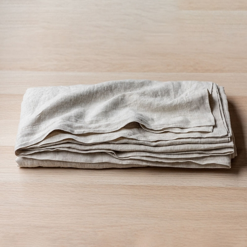 Natural oatmeal linen table cloth set