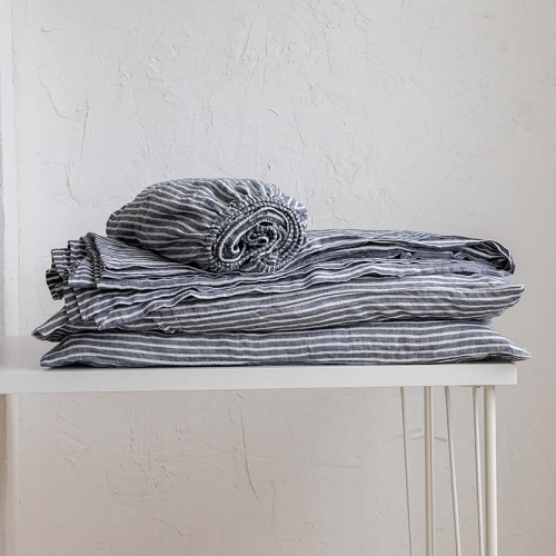 Marine stripe linen sheet set