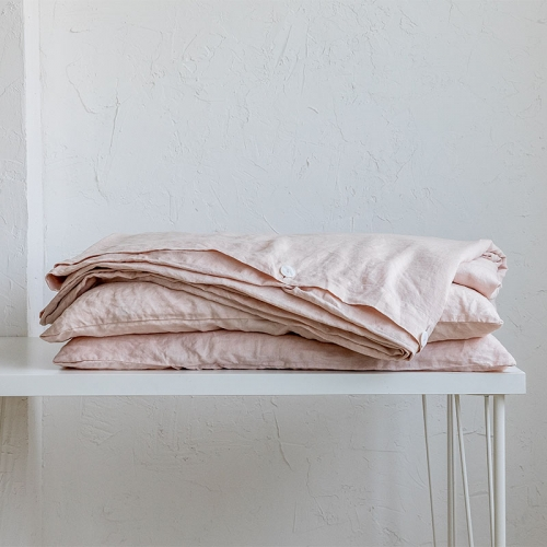 Blush linen duvet cover set