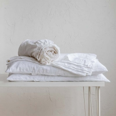 white linen bedsheets set
