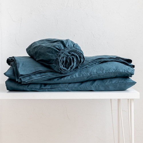 Peacock blue linen bedsheets set
