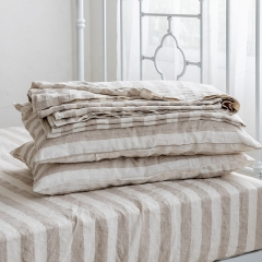 Natural stripe linen bedsheets set