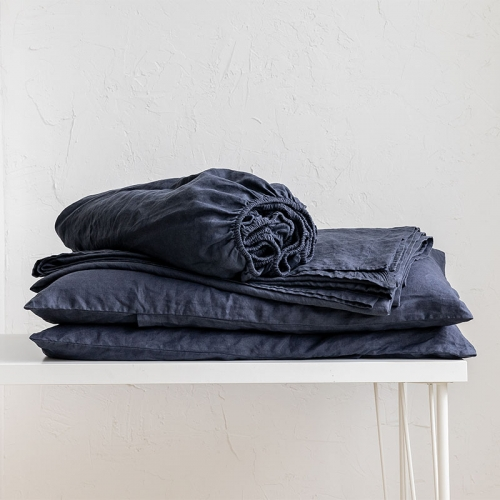 French blue navy linen bedsheets set