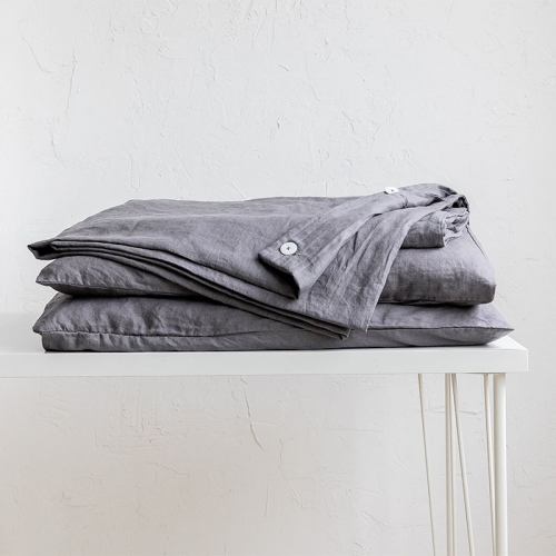 Slate warm grey linen duvet cover set