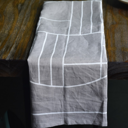Lt grey linen printed tea towel