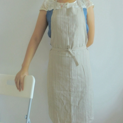 Natural linen full bib apron