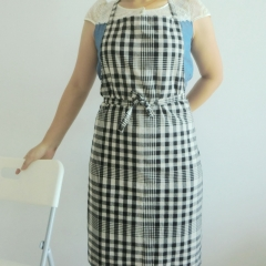 Gingham check linen full apron
