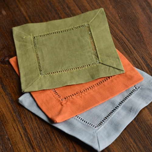 linen bar hemstitched cocktail napkin