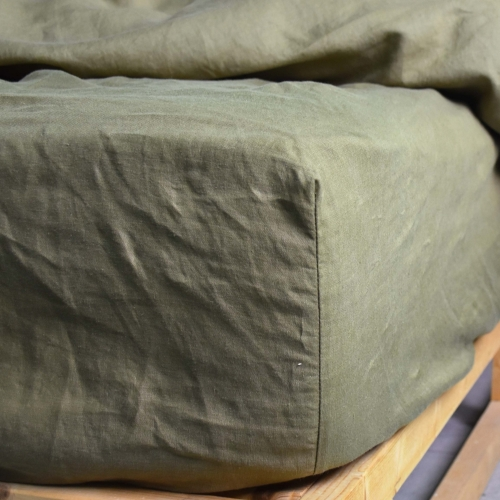 KHAKI linen fitted sheet