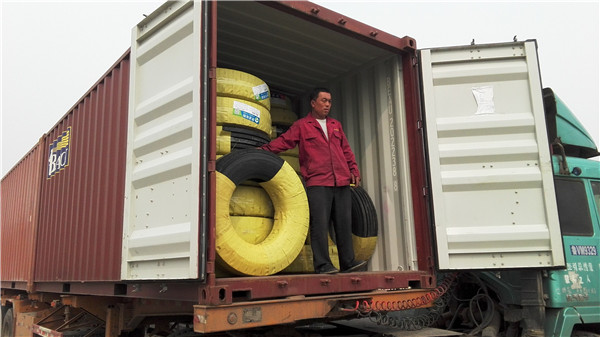 Container loading for truck tires customers from Myanmar
