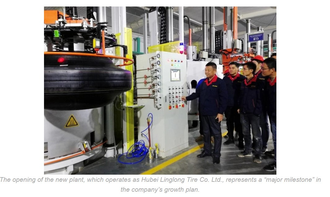 JINGMEN, China—Shandong Linglong Tire Co. Ltd. has initiated production of radial truck and bus tires at its newest factory,