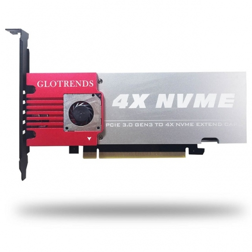 GLOTRENDS Palace 4-Bay M.2 NVME Adapter, Soft RAID Support, Up to PCIE 3.0 X8 Bandwidth, Aluminum Cover with Built-in Fan