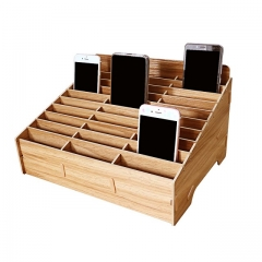 GLOTRENDS 30-Grid Wooden Cell Phone Holder Desktop Organizer Storage Rack for Classroom Office