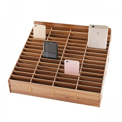 GLOTRENDS 60-Grid Wooden Cell Phone Holder Desktop Organizer Storage Rack for Classroom Office