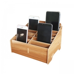 GLOTRENDS 14-Grid Wooden Cell Phone Holder Desktop Organizer Storage Rack for Classroom Office