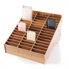 GLOTRENDS 45-Grid Wooden Cell Phone Holder Desktop Organizer Storage Rack for Classroom Office