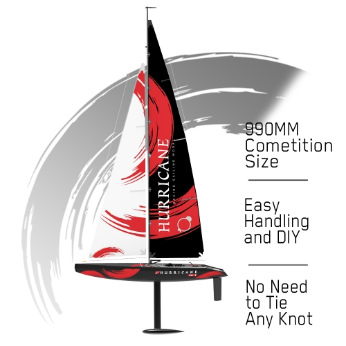 Hurricane 2 Channel Sailboat with 1 Meter Hull Length and ABS Plastic Waterproof Hull (791-2) RTR