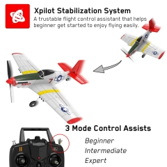 Mustang P-51D 4 Channel Beginner Airplane with Xpilot Stabilizer System and One-key Aerobatic (761-5) RTF