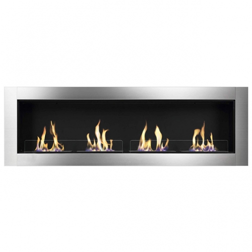 ElecFire Ventless Built in Recessed Bio Ethanol Fireplace with Safety Glass, Indoor Wall Mounted Fireplace