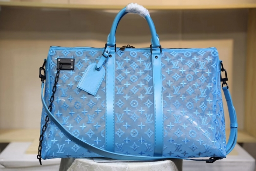 53972 Keepall duffel Mesh Embroidering Monogram Blue