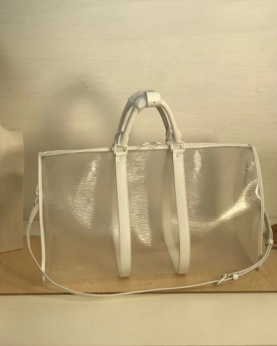 44474 Keepall Bandouliere duffel Transparent EPI White