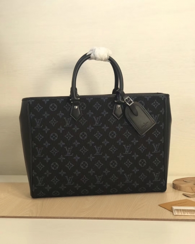 55203 Grand Sac briefcase Embroidering Monogram Blue