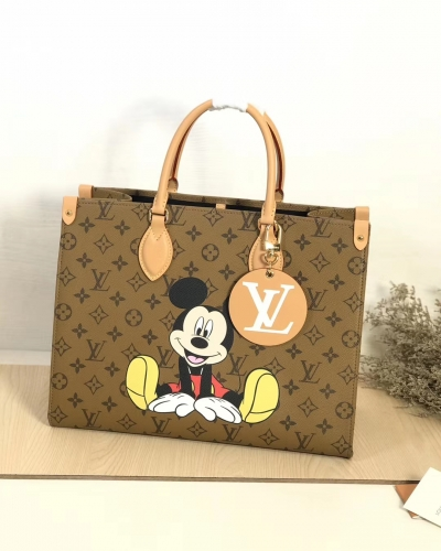 44570 [Onthego] tote Classic Monogram Yellow Pattern Mickey S