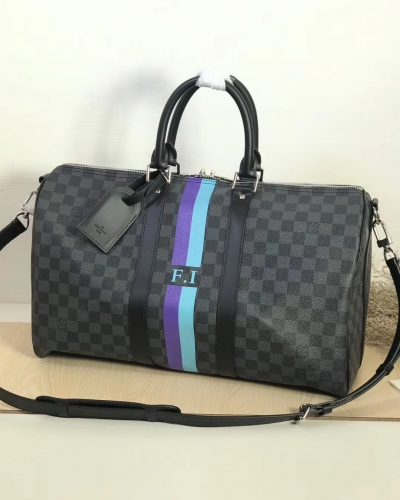 00761 [Keepall 45] duffel Black Damier Screen printing