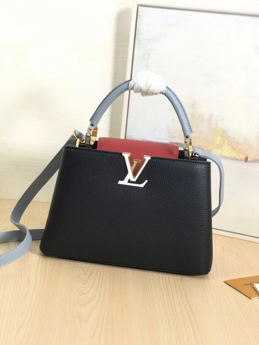 94517 [Capucines] bag Contrasting Colour Black & red S