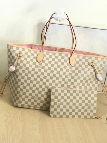 N41604 [Neverfull] tote White Damier Pink L