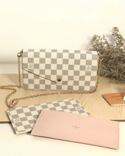 63106 [Felicie] sling White Damier Pink