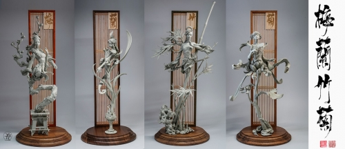 (Pre-order Closed)Plum blossom & Orchid & Bamboo & Chrysanthemum By Yuan Xingliang (Unpainted Grey Model)