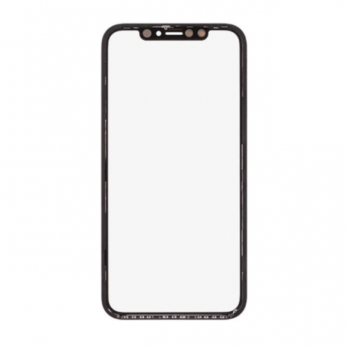 For Apple iPhone XR Glass Lens with Front Bezel and OCA - Black