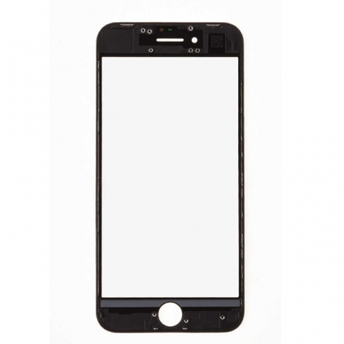 For Apple iPhone 8 Glass Lens With Front Bezel and OCA Glue sheet - Black