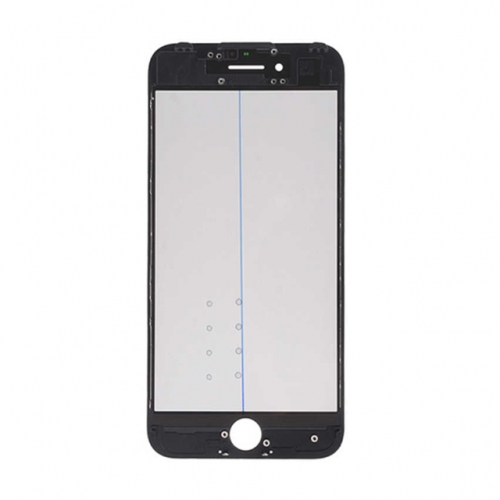 For Apple 7 Glass Lens with Front Bezel OCA Glue Sheet and Polarizer Film - Black