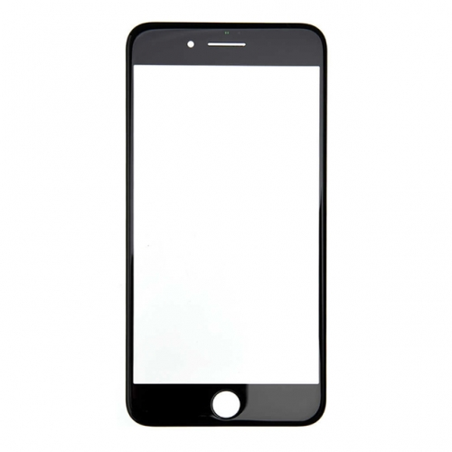For Apple iPhone 7 Plus Glass Lens With Front Bezel and OCA Glue sheet - Black