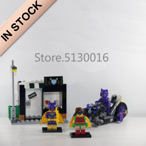 In stock 07058 Batman Movie Catwoman Catcycle Chase 282Pcs Building Blocks Compatible with 70902 Bricks DC Christmas Gifts