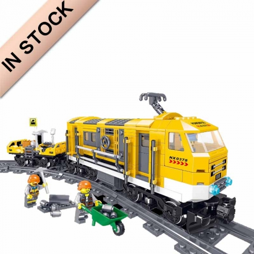 QL0308 Railway Maintenance Car Rail TransitTrain Children Puzzle Assembly Building Block Toy Particles  431 PCS