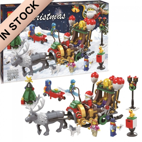 In Stock 11092 New Winter Holiday Santa Ride Deer 221 Pcs Model Building Blocks Bricks Toy For Children Christmas Gifts
