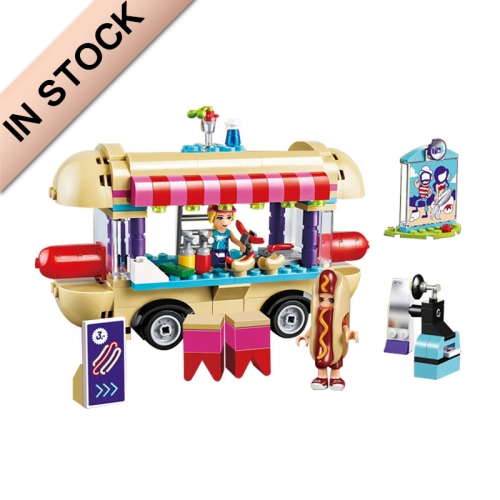 In Stock New Girl Friends Amusement Park Hot Dog Van 243PCS Building Blocks Kids Bricks Toys 41129 01007 10559 Gifts