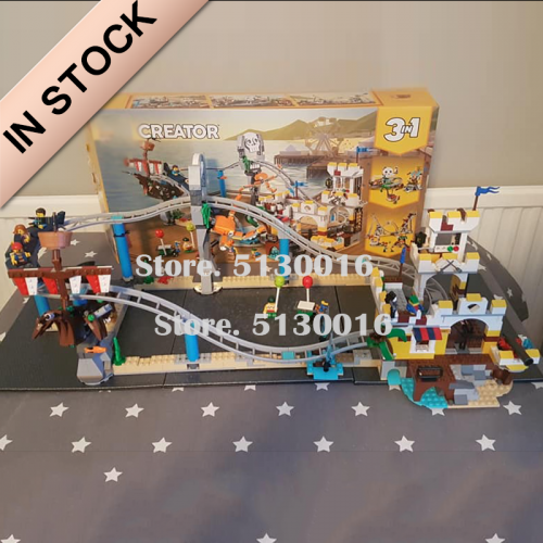 In Stock 11055 945pcs 3in1 Pirate Roller Coaster Boy girl friends Technic Building Blocks Bricks Toy 3129 Christmas birthday Gifts