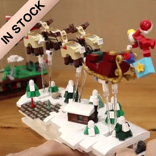 In Stock 759Pcs 49007 Christmas Eve Flying Santa Claus Building Blocks Figures Bricks Toys DIY Creator Architecture