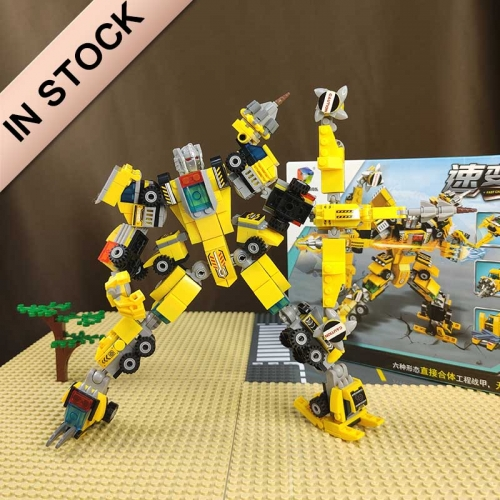 6 in 1 Technic Building Blocks  Bulldozer Crane Technic Dump Truck Building Blocks City Construction vehicle car building blocks Toys 41025B