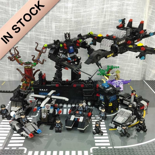 City P olice Station 8 IN 1 Building Blocks Military SWAT  Helicopter Car Team Bricks Educational Toys For Kids building blocks bricks MOC Toys 41008