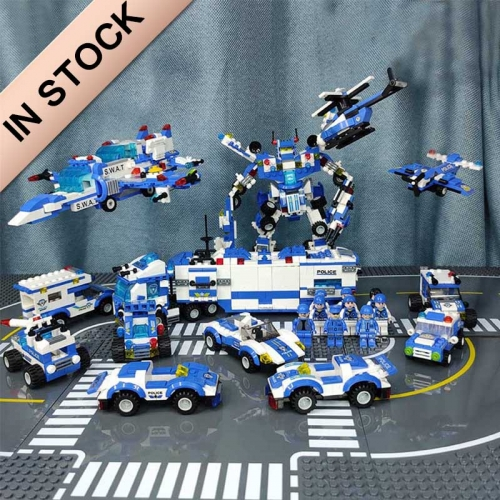 8 in 1 City P oice Series SWAT City P olice Truck Building Blocks Vehicle Car Helicopter DIY Bricks Compatible brand block building blocks bricks MOC
