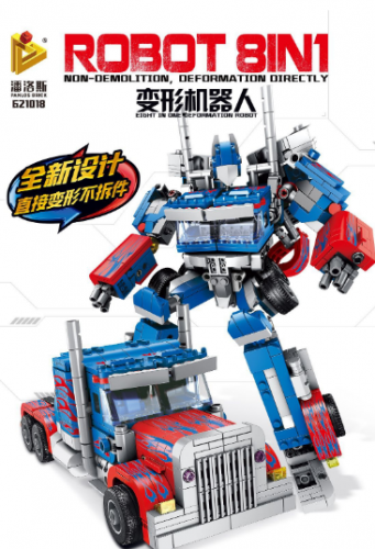 In Stock Optimus Prime Robot 8in1 883 PCS Building Block Brick moc toys gifts  8IN1 621018 Super Heros moc