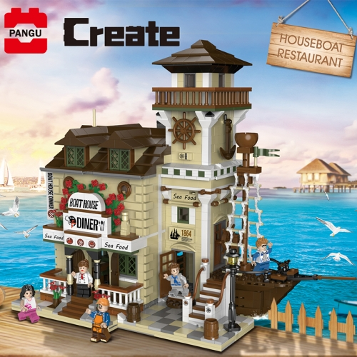 In Stock 2237PCS Streetview Building Toys The Boat House Diner Model Building Blocks Bricks Assembly Kids Toys Christmas Gifts
